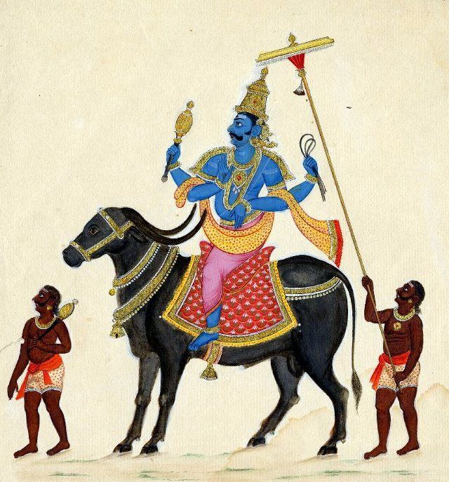 """Yama - the Hindu God of Death InHinduism,Yama(Sanskrit:यम) orYamarāja(यमराज) is thegod of death, belonging to an early stratum ofVedic mythology. In Sanskrit, his name can be interpreted to mean """"twin"""".[1]In theZend-Avestahe is called """"Yima"""".[2]According to theVishnu Purana, Yama is the son of the sungodSurya[3]and of Sanjna, the daughter of Visvakarman, sometimes called """"Usha"""". He is the brother of the currentManuVaivasvatha and of his older sister Yami, ..."""