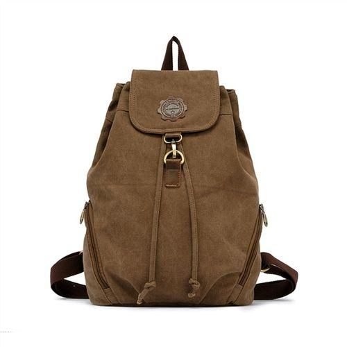 Mickey Mouse Peeking Vintage Canvas Rucksack Backpack with Leather Straps