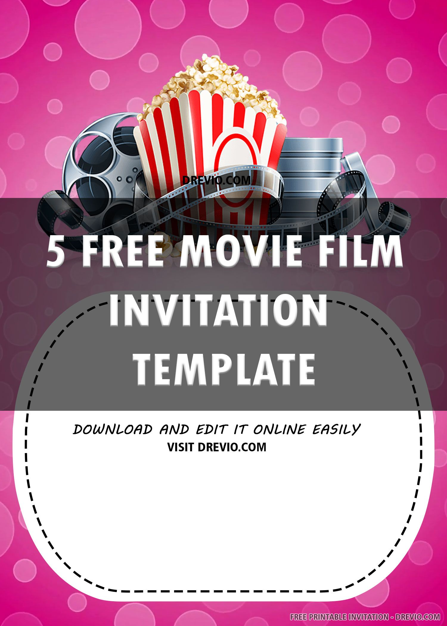 Free printable pink movie invitation templates free