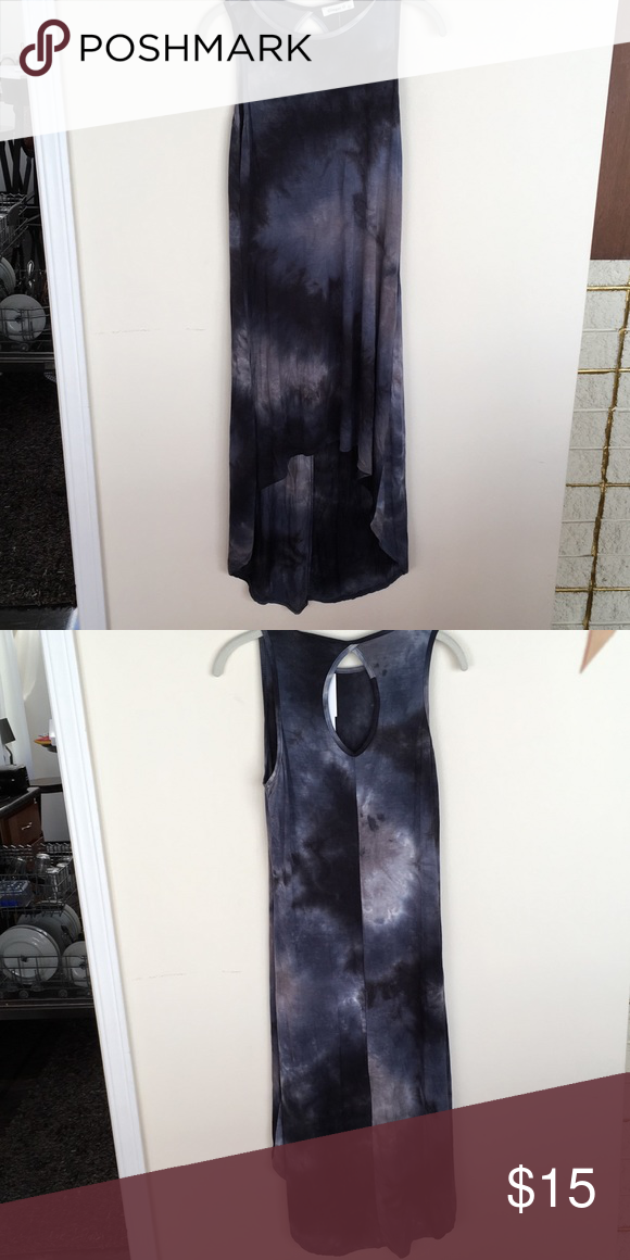 "Navy Tie dye high low dress Flattering and comfortable fit.  Just a little too short for me.  5'7"" and under for best fit in length.  Hard to get rid of but not wearing because of short front hemline. Ginger G Dresses High Low"