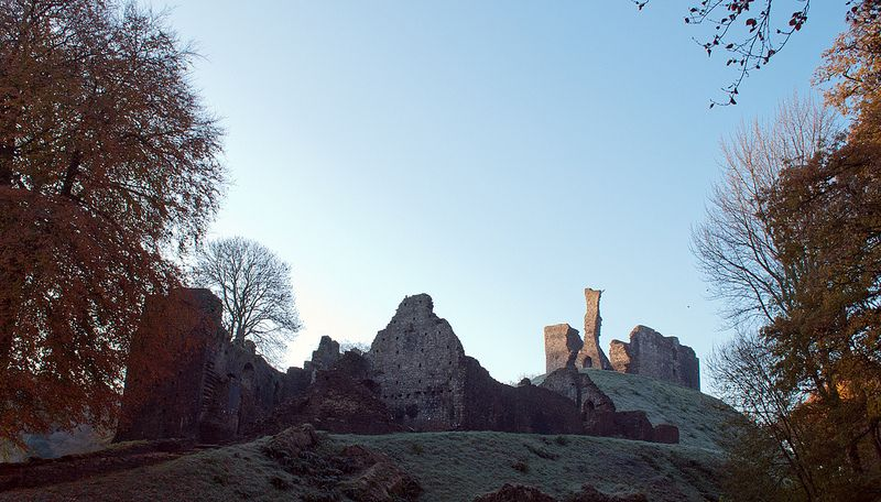 Early Morning Shot of Okehampton Castle Ruins