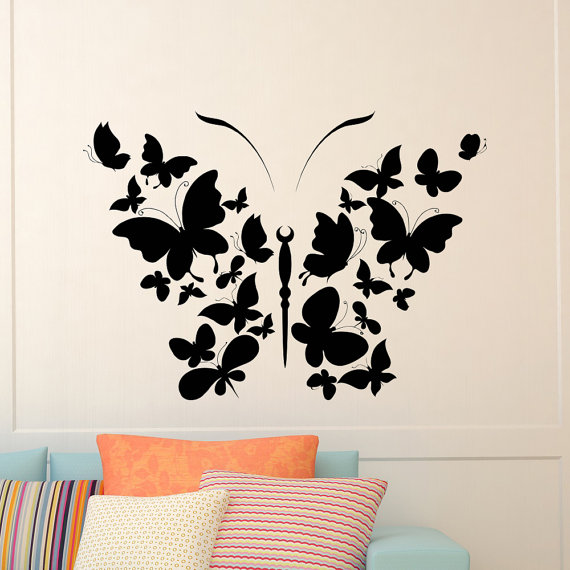Butterfly Wall Decal Vinyl Sticker Butterfly Decal Interior Etsy In 2020 Interior Design Wall Art Butterfly Wall Art Diy Butterfly Wall Art