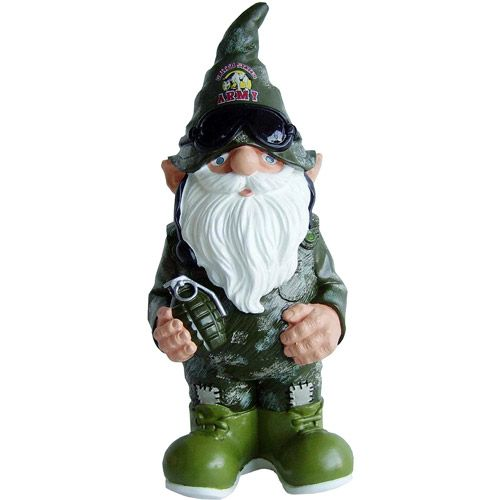 These Righteous Soldier Gnomes Have Worn Camouflage Even When It Looks Terrible With Their Skin Tones Description From Thedr Gnome Statues Gnome Garden Gnomes