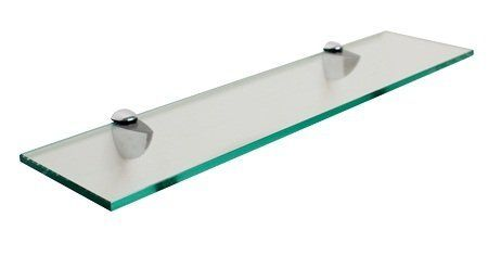 "Rectangle Floating Glass Shelf, 6"" X 30"", with Chrome"