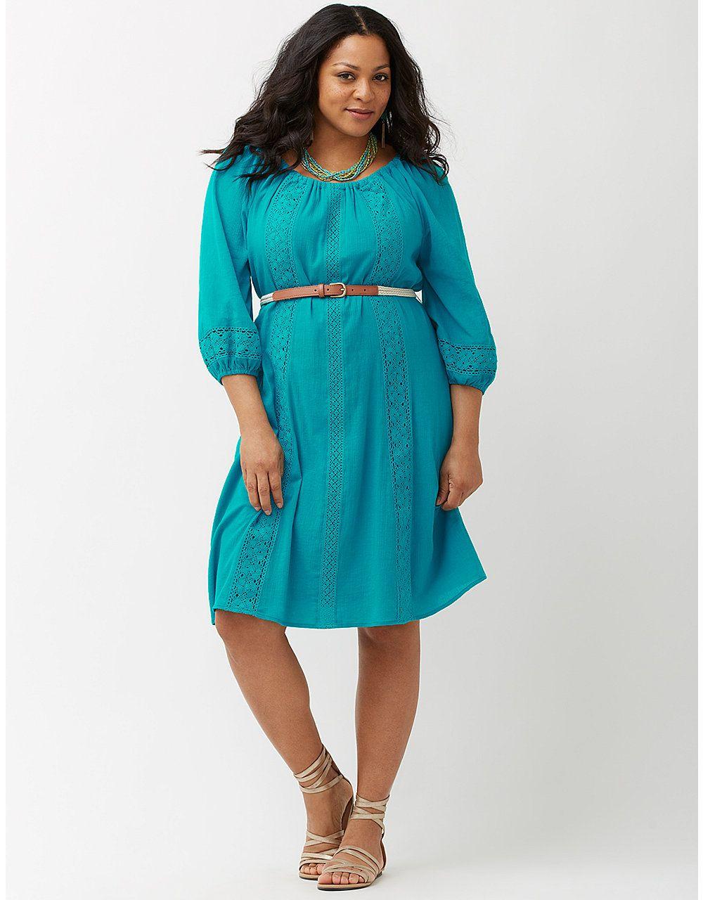 dd42e4a8241 Gauze peasant dress by Lane Bryant
