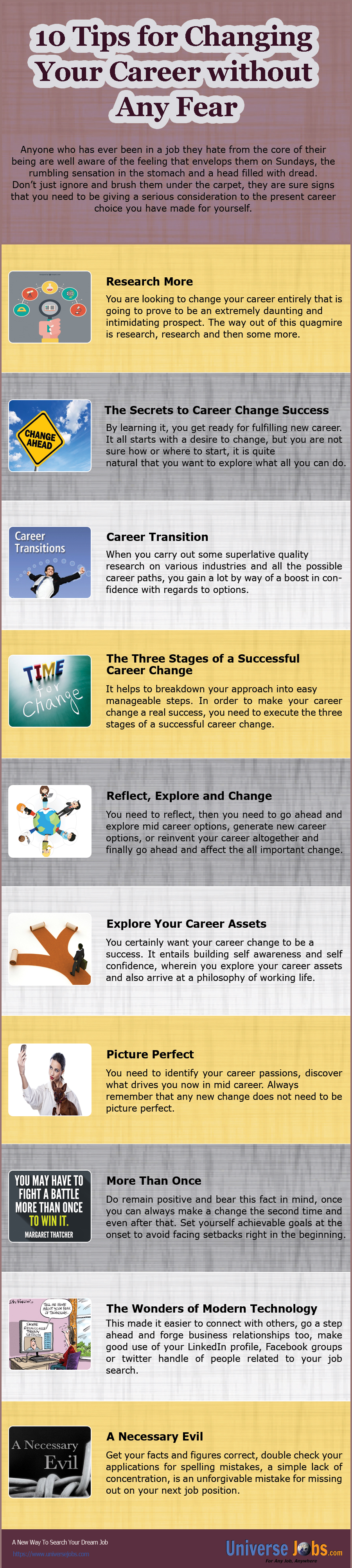 Lovely 10 Tips For Changing Your Career Without Any Fear (Info Graphics)