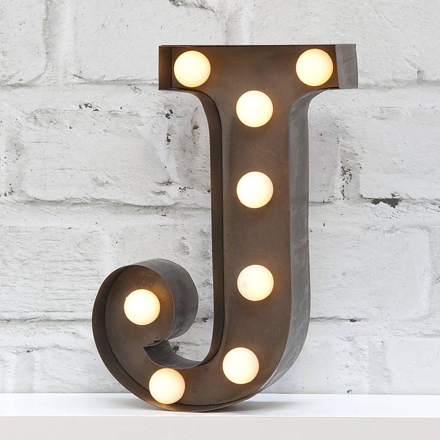 "Tin Letters With Lights Cool 9"" Carnival Light Led Battery Powered Metal Letter Lightavailable Inspiration"