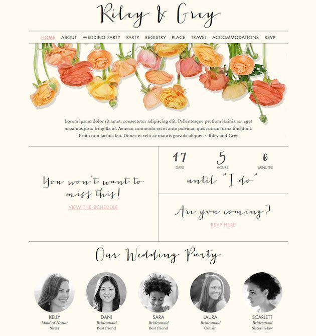 How Gorgeous Is This Peachy Chic Wedding Website By Riley Grey