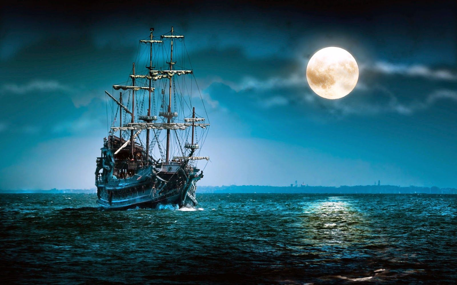 Ship In Sea Moon Hd Wallpaper Wallpapersxplore Free Hd Desktop Wallpapers With Images Old Sailing Ships Sailing Ships Ghost Ship