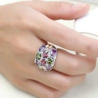 Colorfull Elegant Crystal Zircon Wedding Ring Jewelry Fashion Party Accessories