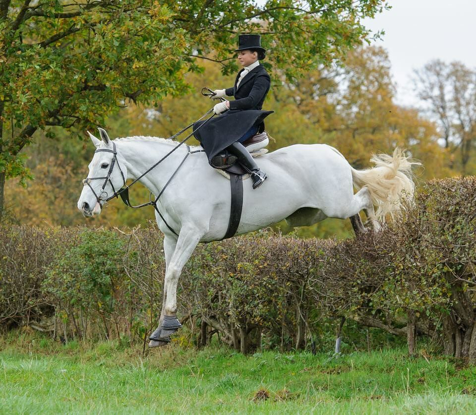 Amy Bryan Dowell riding  Ceilis Bouncer side saddle, fox hunting with the Cheshire Forest Hunt