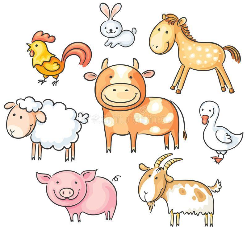 Photo About Set Of Cute Cartoon Farm Animals Illustration Of Goat Rabbit Sheep 44610073 Desenhos Animais Simples Rabiscos De Animais Animais De Quinta