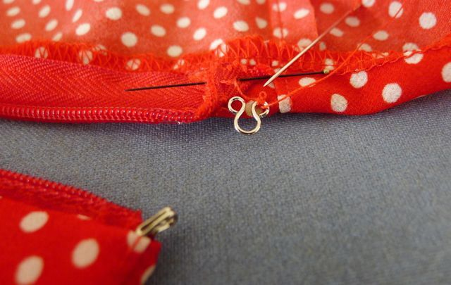 How to add a concealed hook and eye, on top of an invisible zipper.