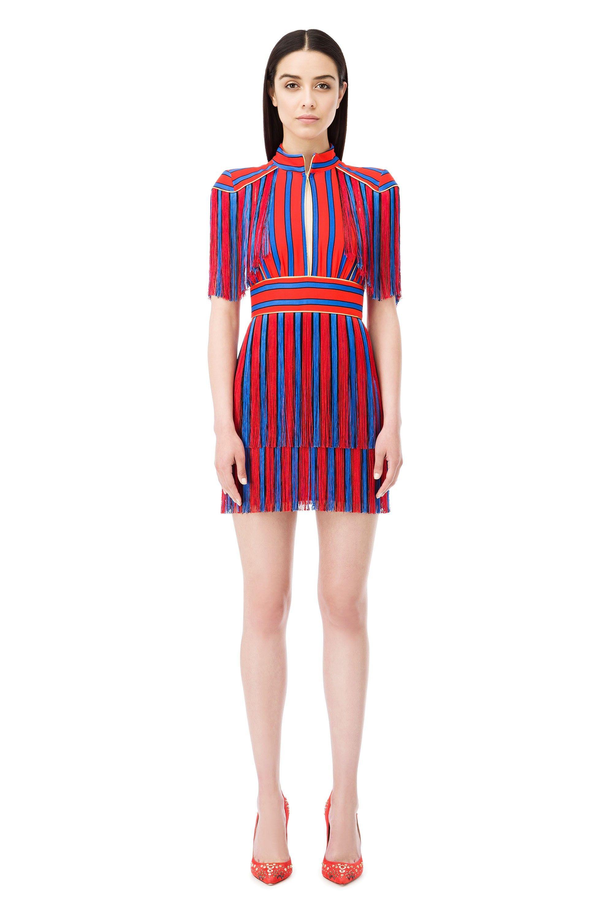 Mini vestido rayas con flecos - Elisabetta Franchi  27e5bbaa1e24e
