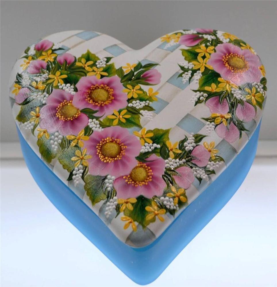 Fenton HEART LG TRINKET BOX AUBERGINE Sky Blue FLORAL ON LATTICE OOAK *FreeUSAsh #HeartShapedCoveredBoxwithLid #Fenton