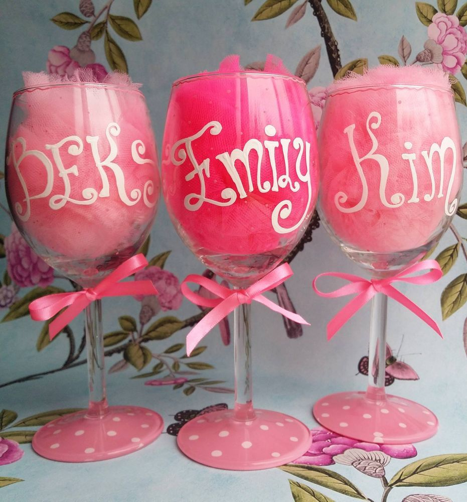 Hand painted personalised champagne or wine glass birthday ...