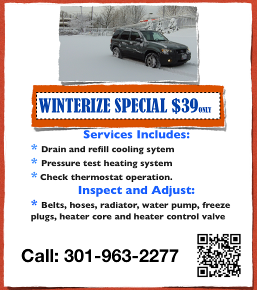 Winterize Special Coupon From Gaithersburg Auto Repair Shop In