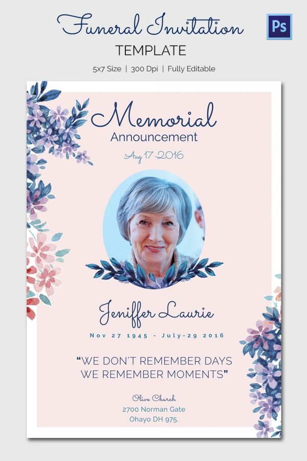 Pin By Wendy On Dorothy    Funeral Invitation Templates