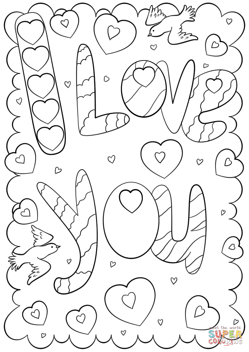 I Love You Doodle Card Coloring Page Free Printable Coloring Pages Free Printable Coloring Pages Printable Coloring Book Printable Coloring Pages