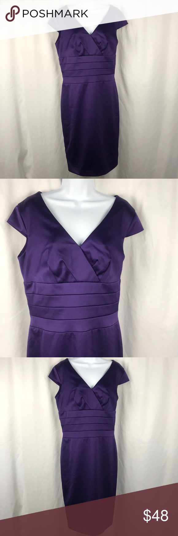 Spiegel Dress Purple Sz 14 Purple Dress Dress Brands V Neck Dress [ 1740 x 580 Pixel ]