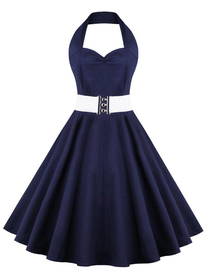 Retro Halter Sweetheart Neck Pure Color Ball Dress