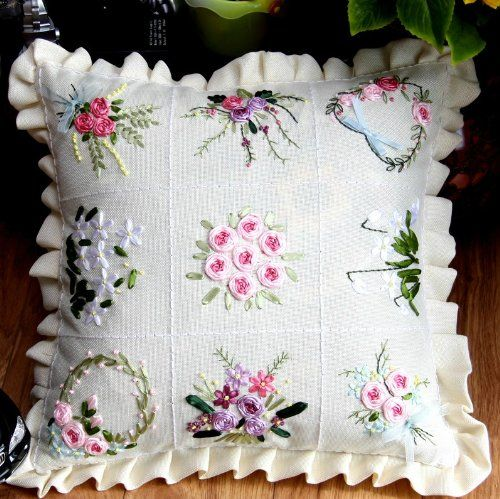 Ribbon Embroidery Cushion Cover Cross Stitch Embroidery Kit Rural