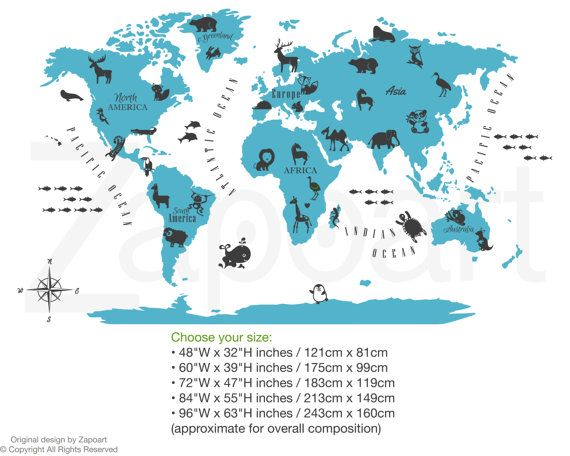 There are millions of reasons to travel the world we want to help world map with animals wall decal kids map decal by zapoart gumiabroncs Gallery