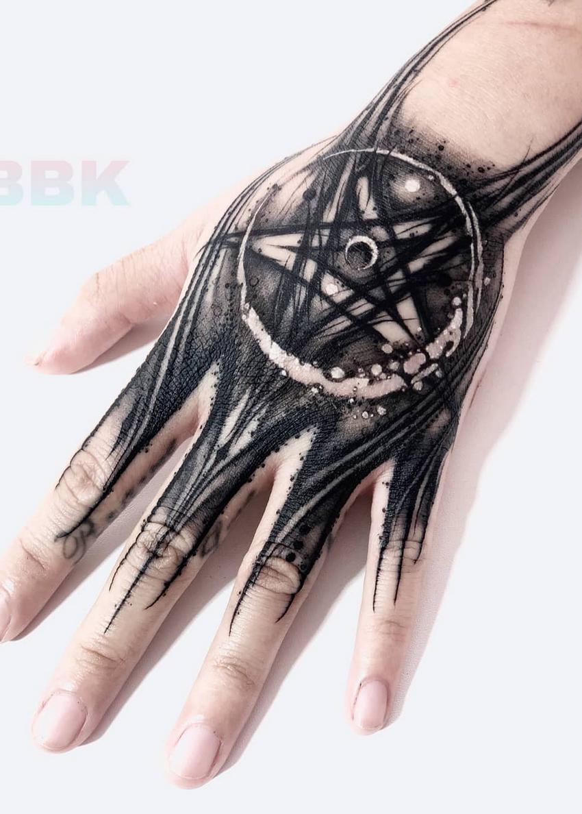 Pentagram Handtattoo Evil Tattoos Hand Tattoos Handwriting Tattoos