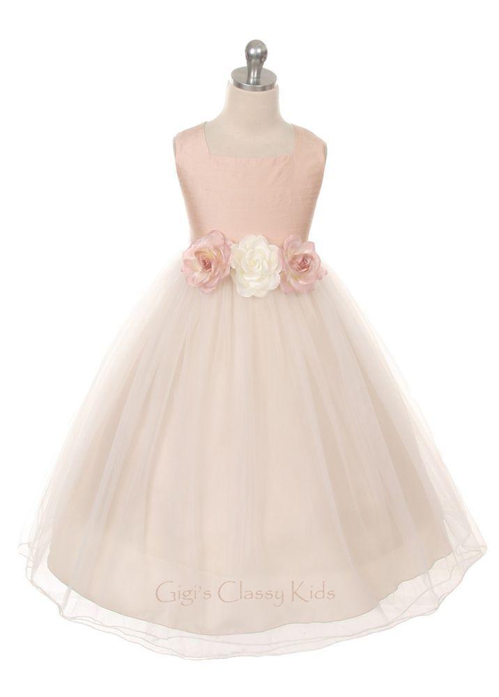 ca70fe9f810 Sleeveless Flowery Waist Satin and Tulle Flower Girl Dress ...