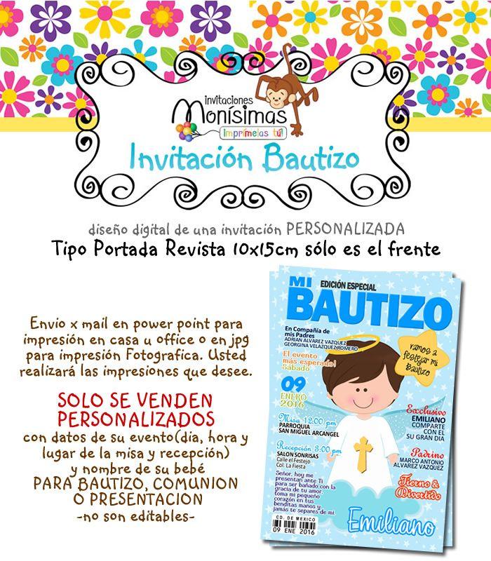 Invitacion Bautizo-tipo Revista O Postal-imprimible - $ 75.00 ...