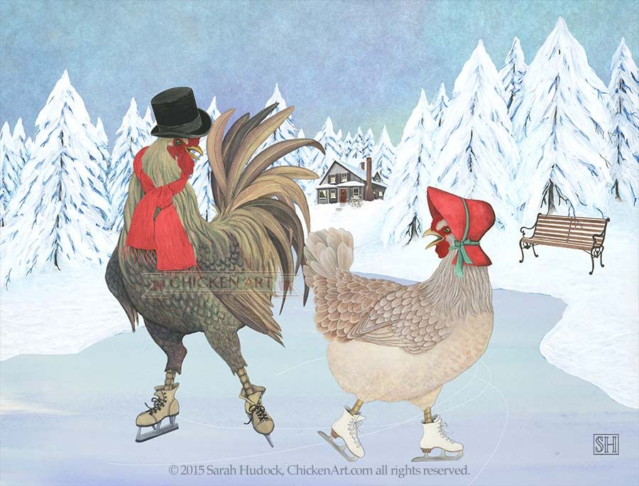 A little old-fashioned fun! January. 2016 Chicken Art Calendar © 2016 Sarah Hudock, ChickenArt.com all rights reserved.