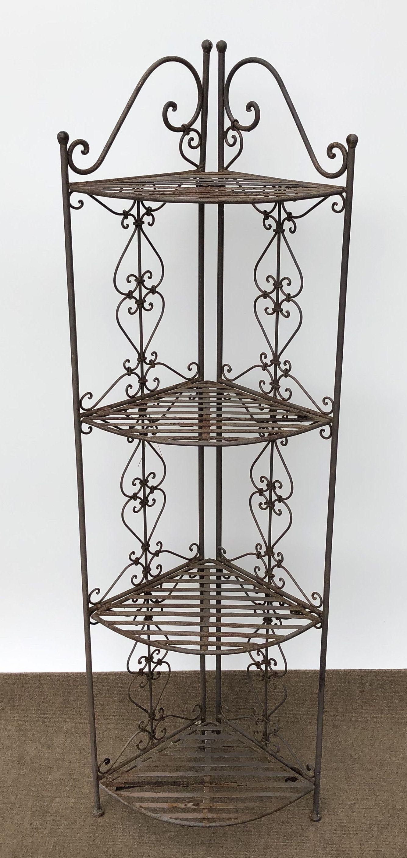 Vintage Wrought Iron Corner Shelf Whatnot Shelf Plant Stand