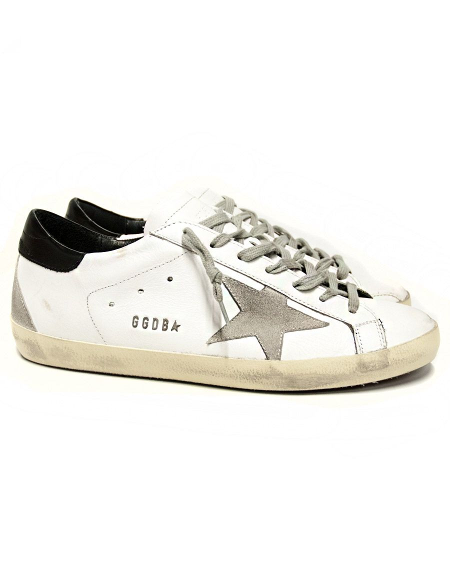 c8c1dff347 Golden Goose Superstar black and white sneakers Golden Goose Deluxe Brand  GGDB code: GCOMS590-W55 Made by white leather with grey suede leather  details.