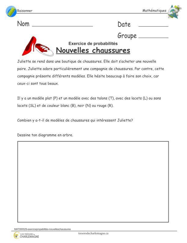 Exercice Probabilites Nouvelles Chaussures Tresors De Charlemagne Math Teacher Activities