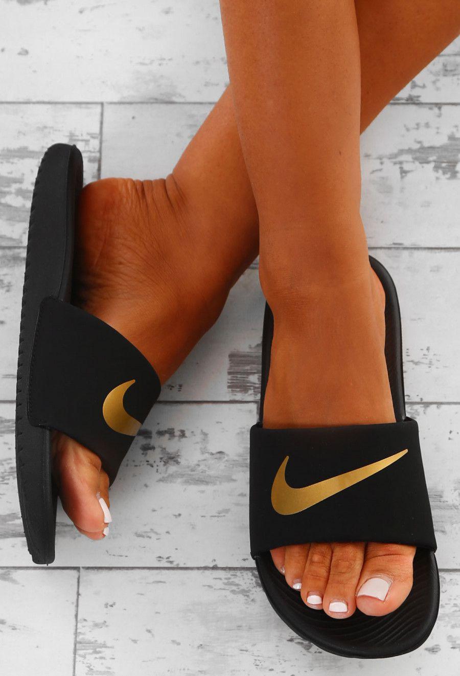 Nike Kawa Black and Gold Sliders | Pink