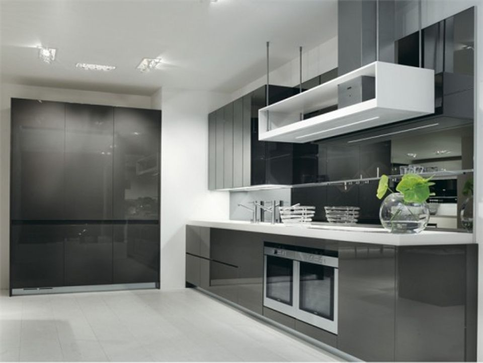 Modern dark grey kitchen with high gloss