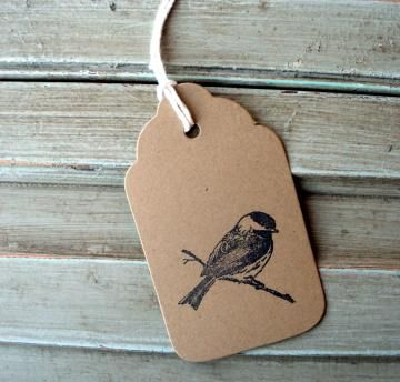 Hand Stamped Chickadee Tags, thank you, wedding tags, Christmas tags, birthday gift tags, brown kraft gift tags, bird tags, set of 10 tags by magnoliastreetpaper for $4.50