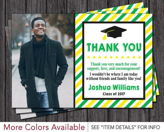 graduation thank you card with photo in green and yellow