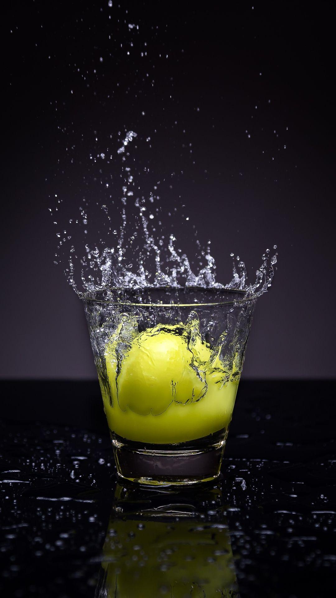 lemon, glass, water, spray