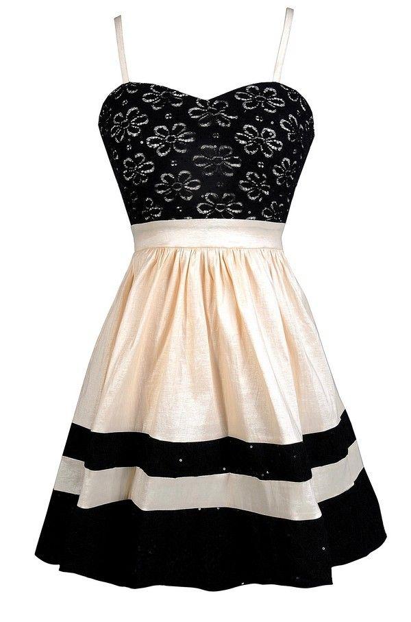 sparkle floral lace a line dress in black cream. Black Bedroom Furniture Sets. Home Design Ideas