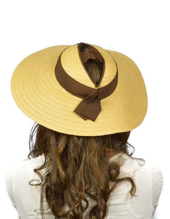 696df7272 Vintage 1930s Hat: 30s Wide Brim Straw Hat, Open Crown Sun Hat ...