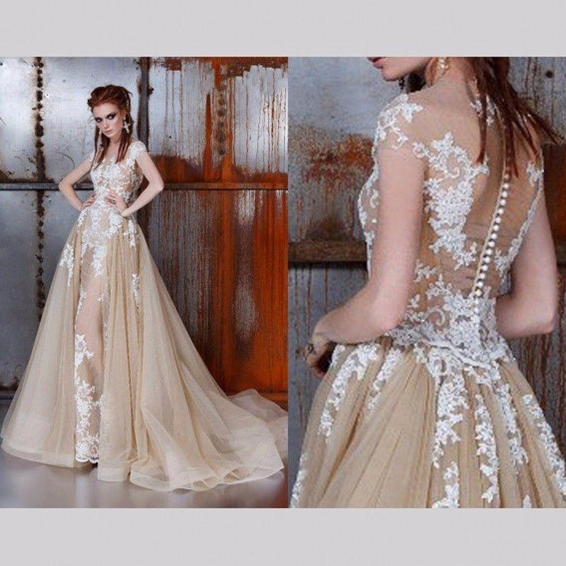 Champagne Lange Spitze Abendkleider für Hochzeit Frauen A linie T ...