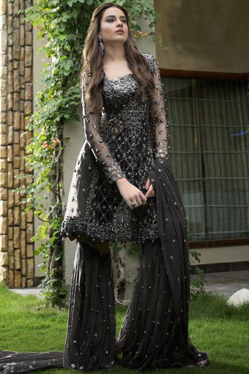 Black Net Bead Work Sharara Suit In 2021 Black Pakistani Dress Pakistani Dress Design Fashion [ 1200 x 800 Pixel ]
