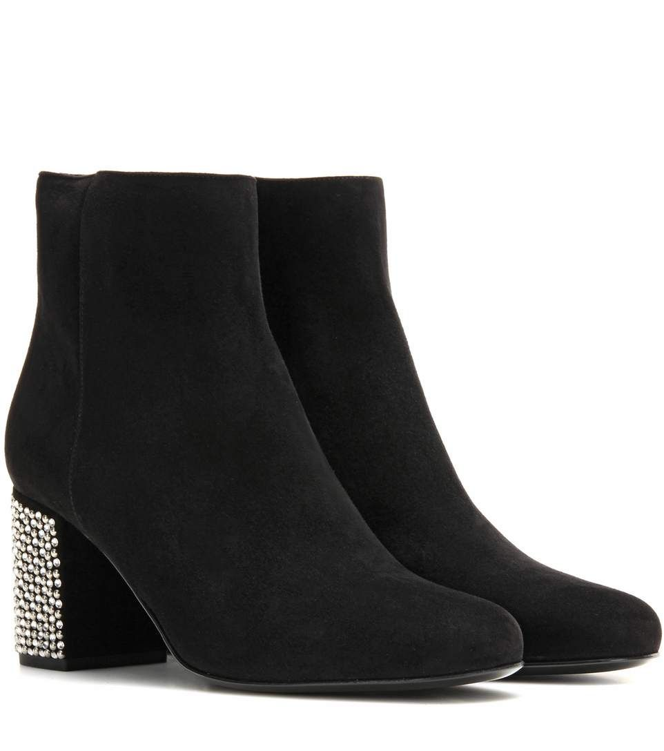 SAINT LAURENT Embellished Suede Ankle Boots. #saintlaurent #shoes #boots