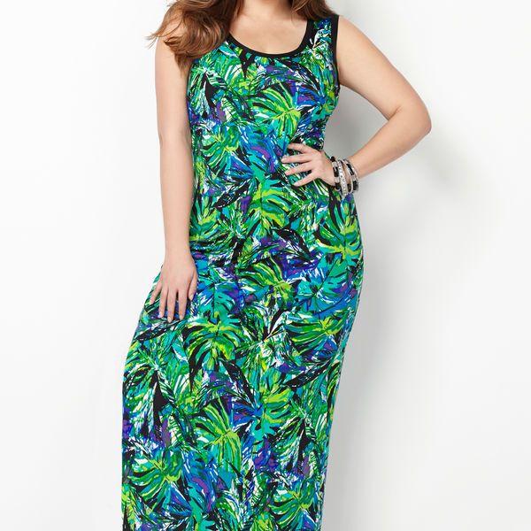 Blue Palm Maxi Dress-Plus Size Maxi Dress-Avenue