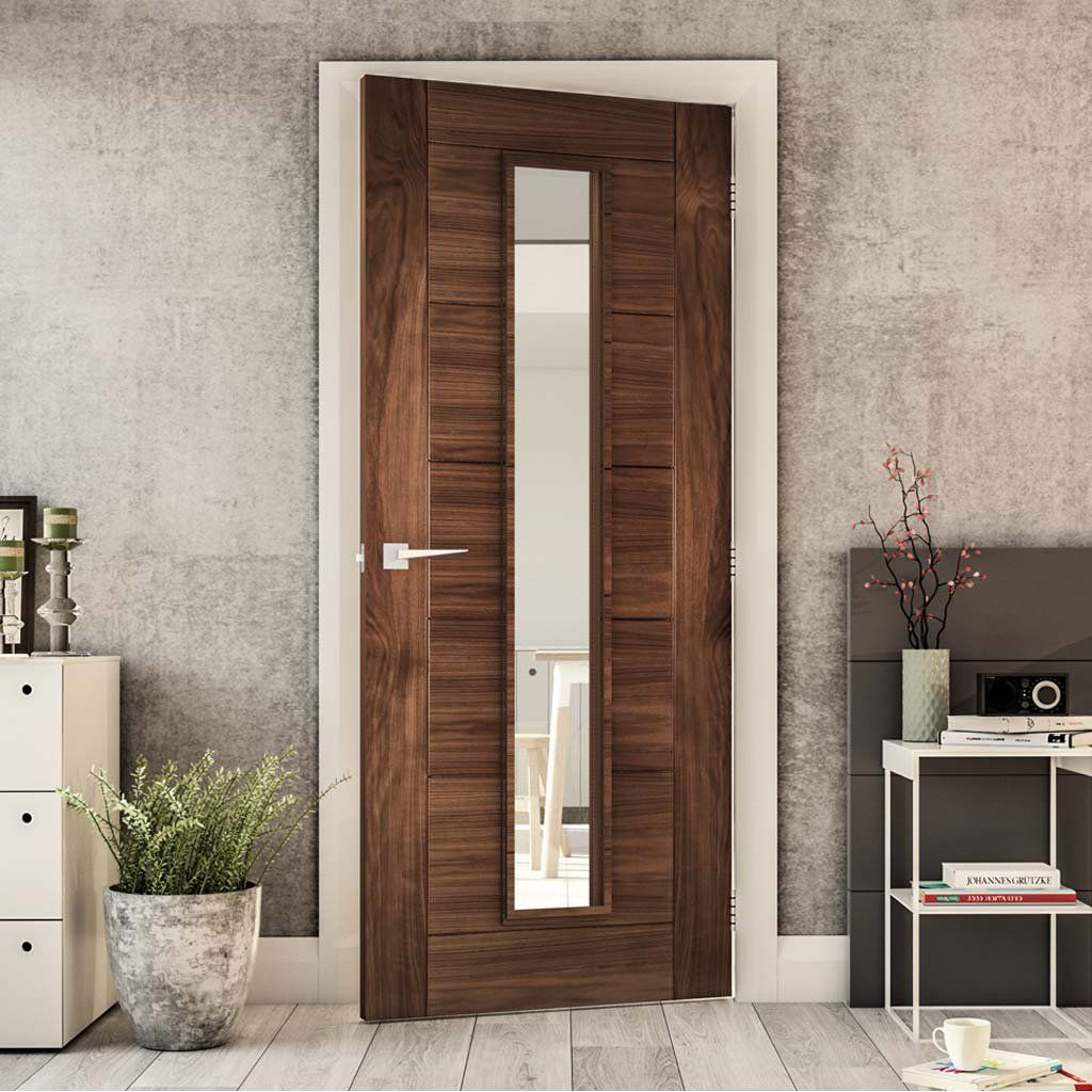 Deanta Seville Walnut Door With Clear Glass 1 2 Hour Fire Rated Prefinished Firedoor Walnutdoor Fire Doors Fire Doors Internal Walnut Doors