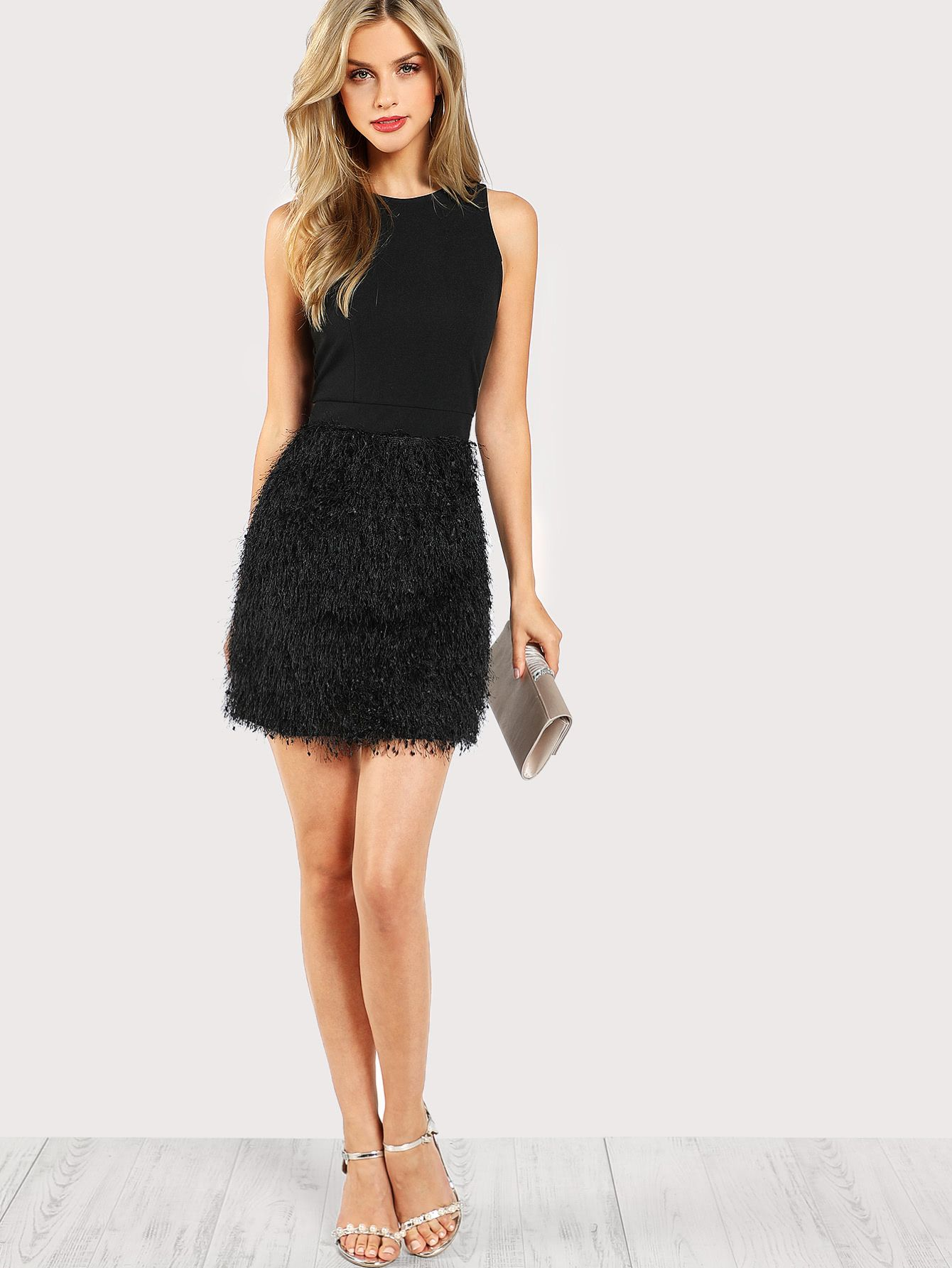 Faux Feather Bottom Dress Shein Sheinside Dresses Embellished Cocktail Dress Party Dresses For Women
