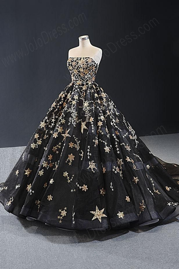 Black Gold Galaxy Ball Gown Formal Evening Gown RS