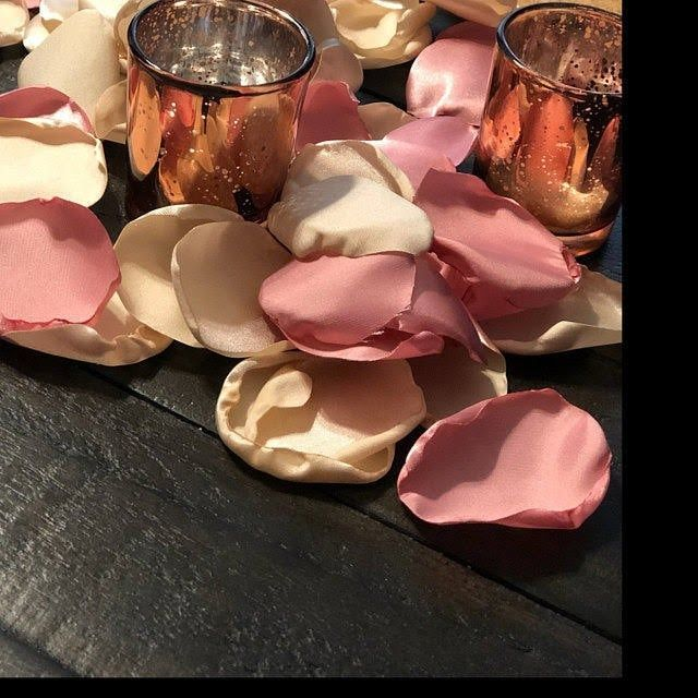 Dusty Rose Table Runner, Champagne Rose Petals, Flower