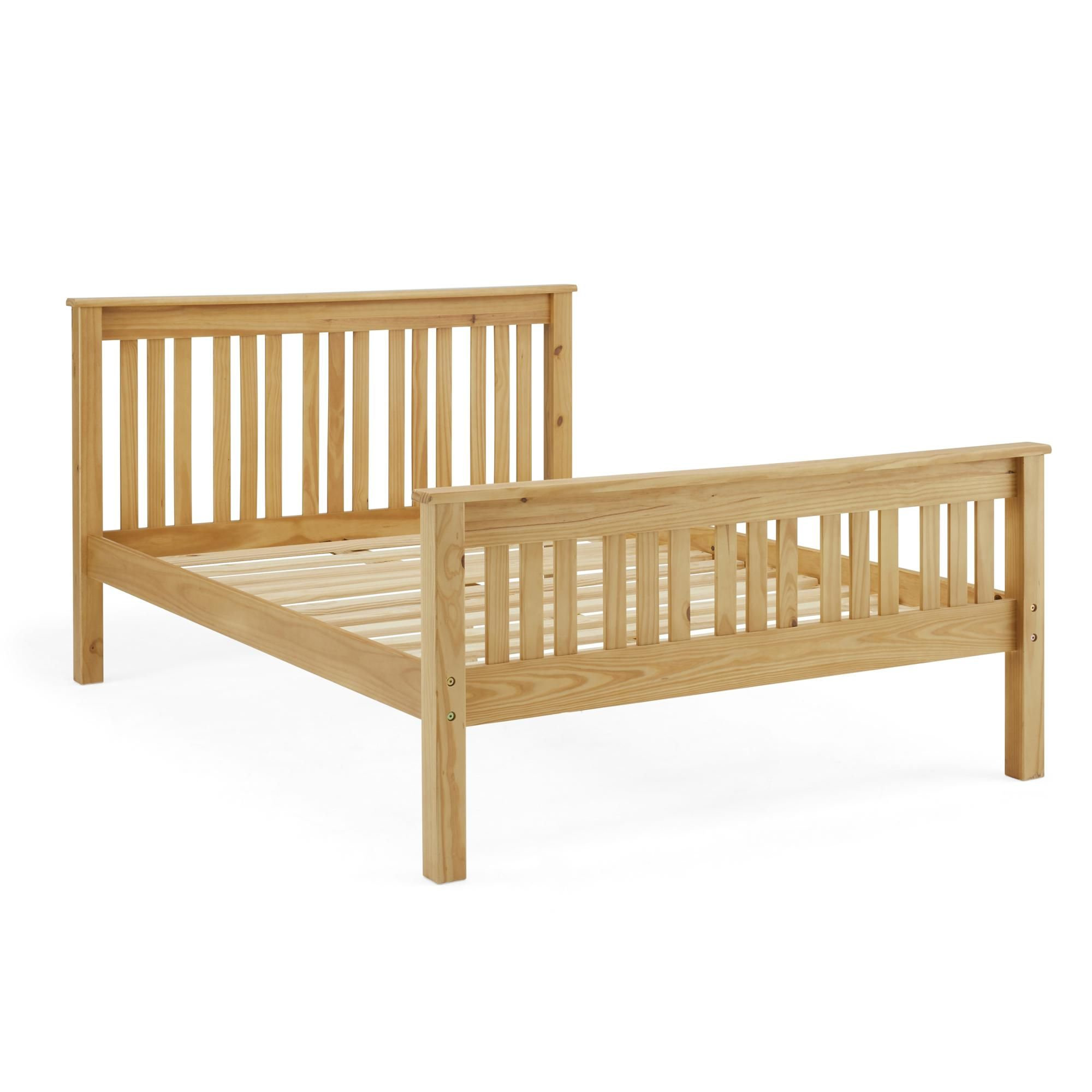 Shaker Style Wooden Bed Natural In 2020 Shaker Style Bed